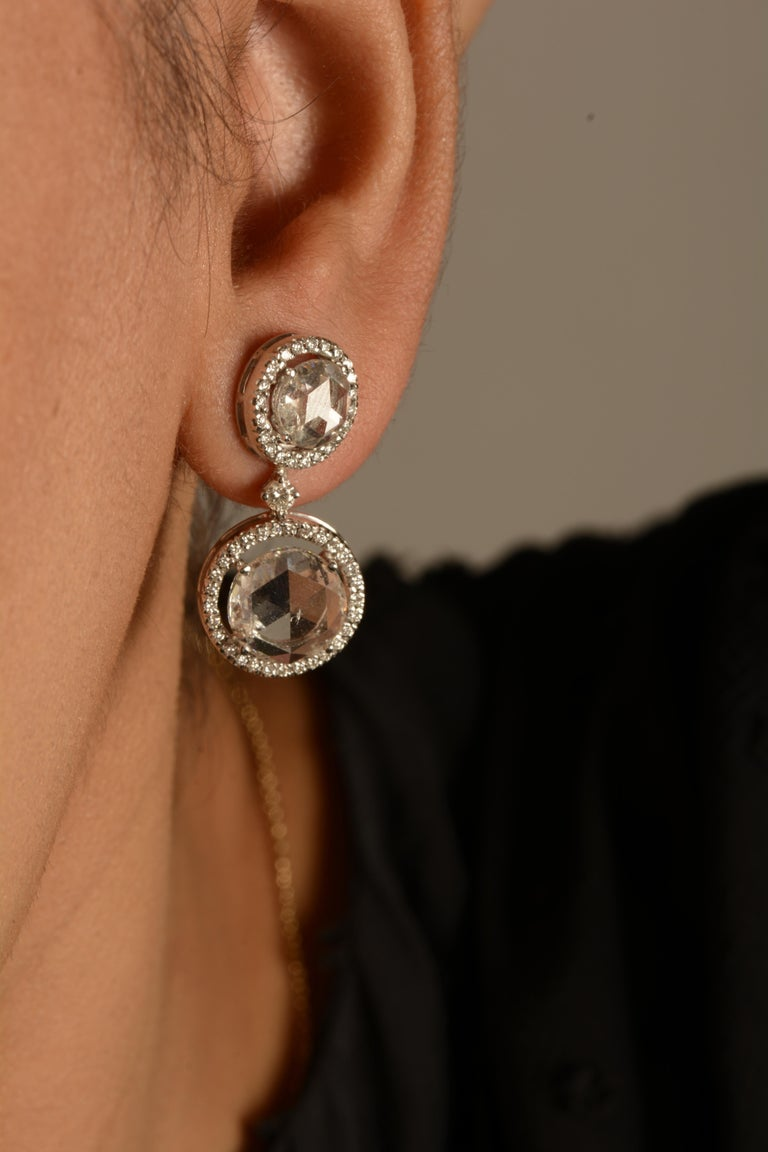 Contemporary 18 Karat White Gold Rose Cut Solitaire Diamond Earrings For Sale