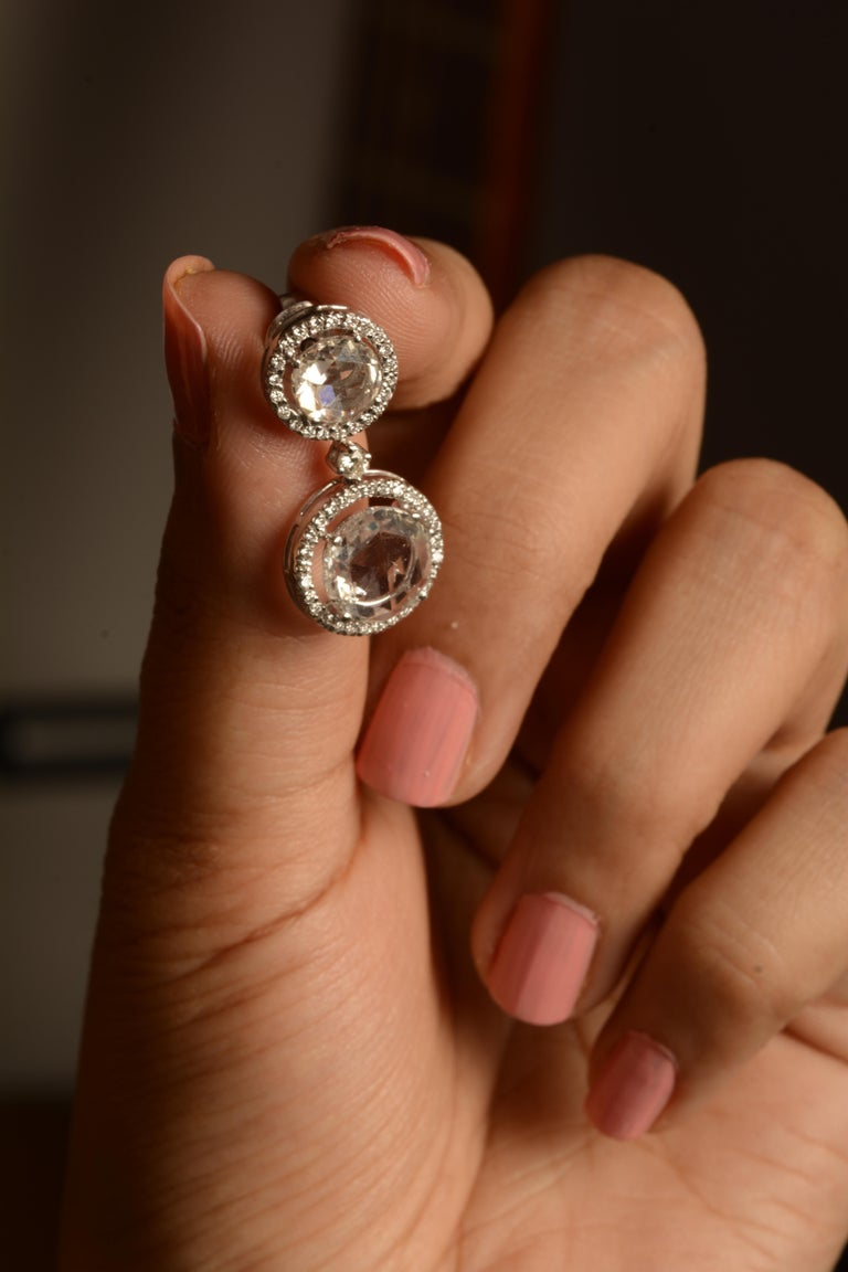 18 Karat White Gold Rose Cut Solitaire Diamond Earrings In New Condition For Sale In Mumbai, IN