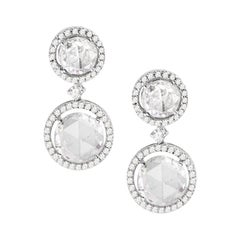 18 Karat White Gold Rose Cut Solitaire Diamond Earrings
