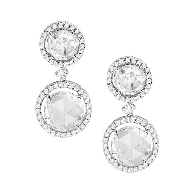 18 Karat White Gold Rose Cut Solitaire Diamond Earrings For Sale