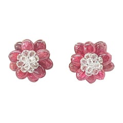 18 Karat White Gold, Rose Cut and Spinel Ear Studs