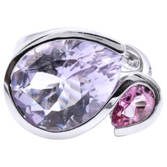 18 Karat White Gold Rose D'France and Pink Tourmaline Ring