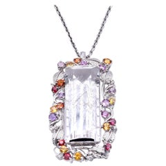 18 Karat White Gold Rose Quartz and Multi Sapphire and Diamond Pendant