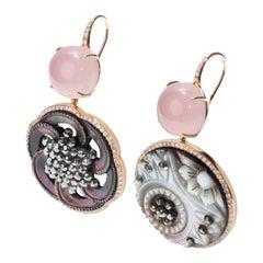 18 Karat White Gold, Rose Quartz, Diamonds, Vintage Button Chic Pink Earrings