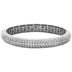 18 Karat White Gold Rosecut Diamond Cuff Bracelet