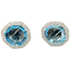 18 Karat White Gold Rough Cut Baby Blue Topaz and Diamond Earrings, Powder Blue
