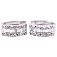 18 Karat White Gold Round and Baguette Cut Diamond Huggie Earrings