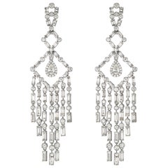 18 Karat White Gold Round and Baguette Diamond Chandelier Earring