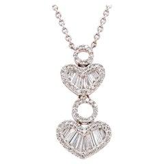 18 Karat White Gold Round and Baguette Diamond Double Heart Drop Necklace