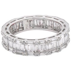 18 Karat White Gold Round and Baguette Eternity Band
