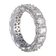 18 Karat White Gold Round and Emerald Cut Diamond Eternity Band Ring