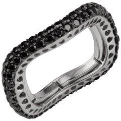 18 Karat White Gold Round Black Diamond Adjustable Band Ring