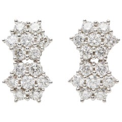 18 Karat White Gold Round Brilliant Cut Double Cluster Diamond Earrings