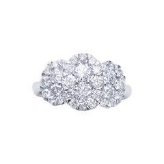 18 Karat White Gold Round Cut 1.23 Carat Diamond Ring