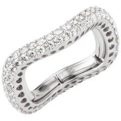 18 Karat White Gold Round Diamond Adjustable Band Ring