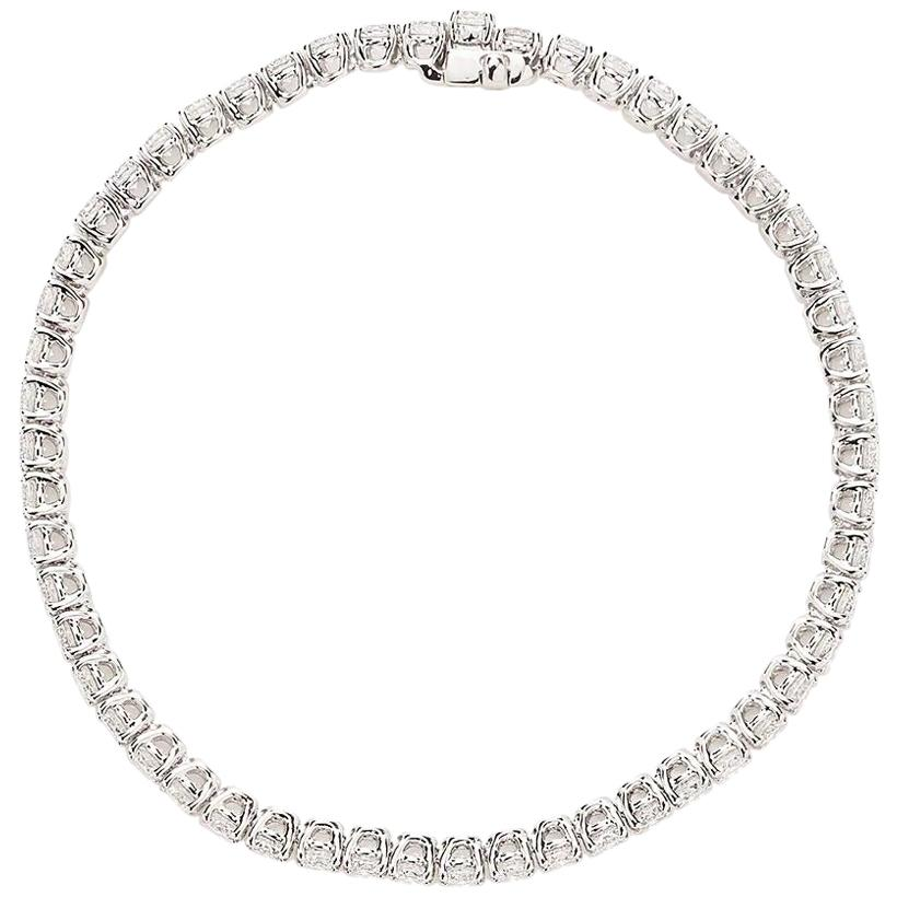 18 Karat White Gold Round Diamond Bracelet