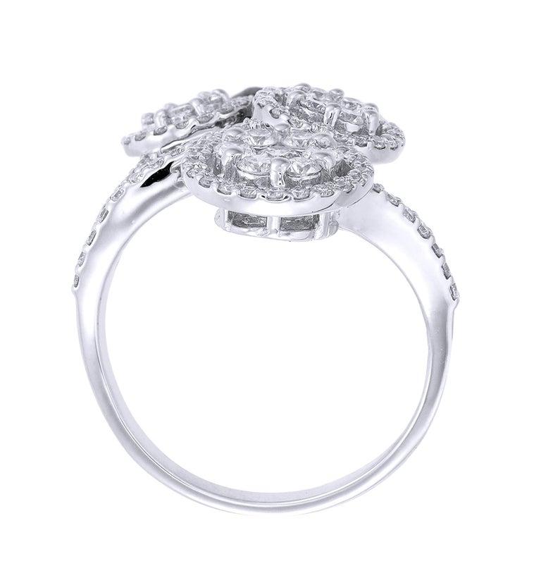 Modern 18 Karat White Gold Round Diamond Cocktail Ring For Sale