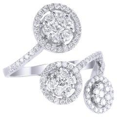 18 Karat White Gold Round Diamond Cocktail Ring