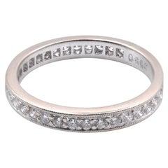18 Karat White Gold Round Diamond Engagement Band