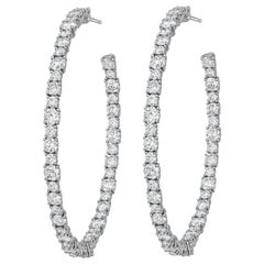 AS29 18 Karat White Gold Round Diamond Large Hoop Earrings