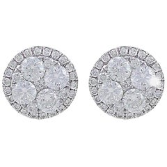 CJ Charles 18 Karat White Gold Round Diamond Stud Earrings