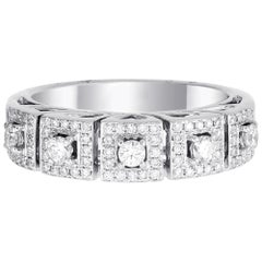 18 Karat White Gold Round Diamond Wedding Ring