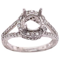 18 Karat White Gold Round Engagement Ring Setting Diamond Halo and Two Row Band