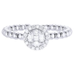 18 Karat White Gold Round Illusion Diamond Cocktail Ring