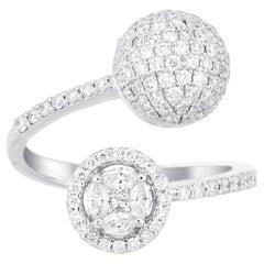 18 Karat White Gold Round Illusion Diamond Cocktail Ring