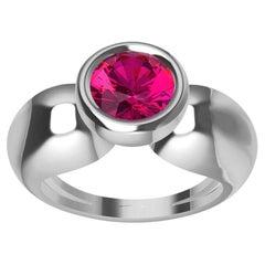 18 Karat White Gold Round Pink Sapphire 1.09 Carat Teardrop Sculpture Ring