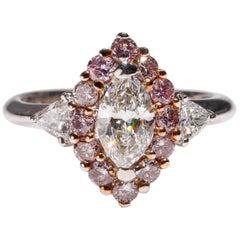 18 Karat White Gold Round Pink Trillion Marquise Shape Diamond Ring