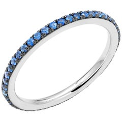 18 Karat White Gold Round Sapphire 1.3 Millimeter Eternity Band Black Rhodium
