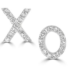 18 Karat White Gold Round Single Cut Pave Diamond XO Stud Earring