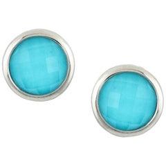 18 Karat White Gold Round Stud Earrings with White Topaz & Arizona Turquoise