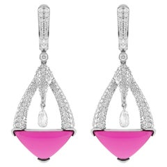 18 Karat White Gold Rubelite and Diamond Earrings