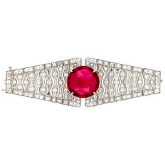 18 Karat White Gold Rubellite and Diamond Convertible Ring Bracelet