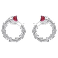18 Karat White Gold Rubellite and Diamond Earrings