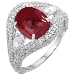 18 Karat White Gold Rubellite and Diamond Ring