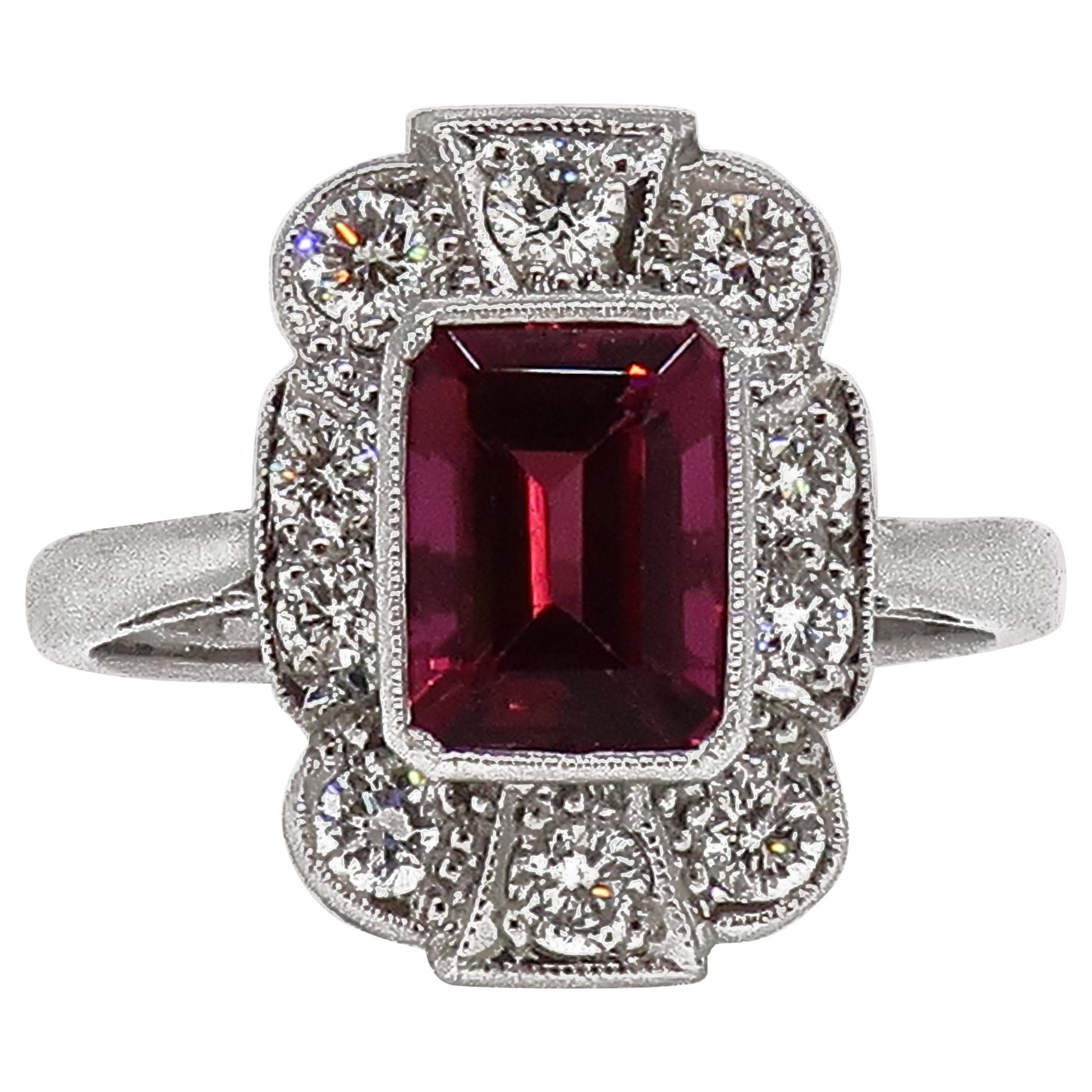 18 Karat White Gold Rubellite Tourmaline and Diamond Art Deco Style Cluster Ring