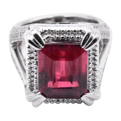 18 Karat White Gold Rubellite Tourmaline and Diamond Fashion Ring