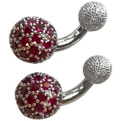 18 Karat White Gold Rubies Cufflinks