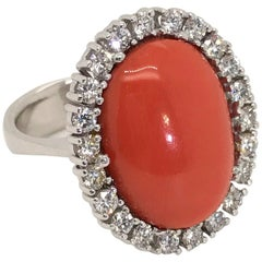 18 Karat White Gold Rubram Coral and Diamond Cocktail Ring