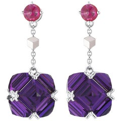 Paolo Costagli 18 Karat White Gold Ruby and Amethyst Very PC Earrings, Petite