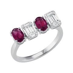 18 Karat White Gold Ruby and Baguette Diamond Ring