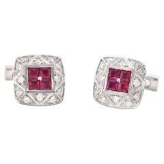 18 Karat White Gold Ruby and Diamond Asprey Cufflinks