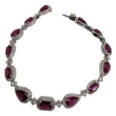18 Karat White Gold Ruby and Diamond Bracelet
