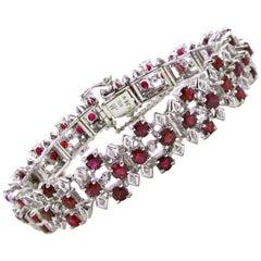 18 Karat White Gold Ruby and Diamond Cluster Bracelet