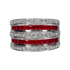 18 Karat White Gold Ruby and Diamond Cocktail Band Ring
