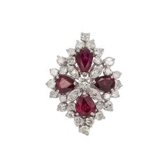 18 Karat White Gold Ruby and Diamond Cocktail Fashion Ring