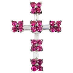 18 Karat White Gold Ruby and Diamond Cross Pendant
